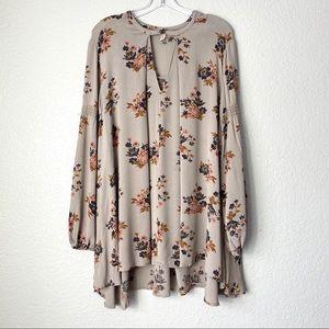 FREE PEOPLE Taupe Keyhole Floral Mini Dress (XS)